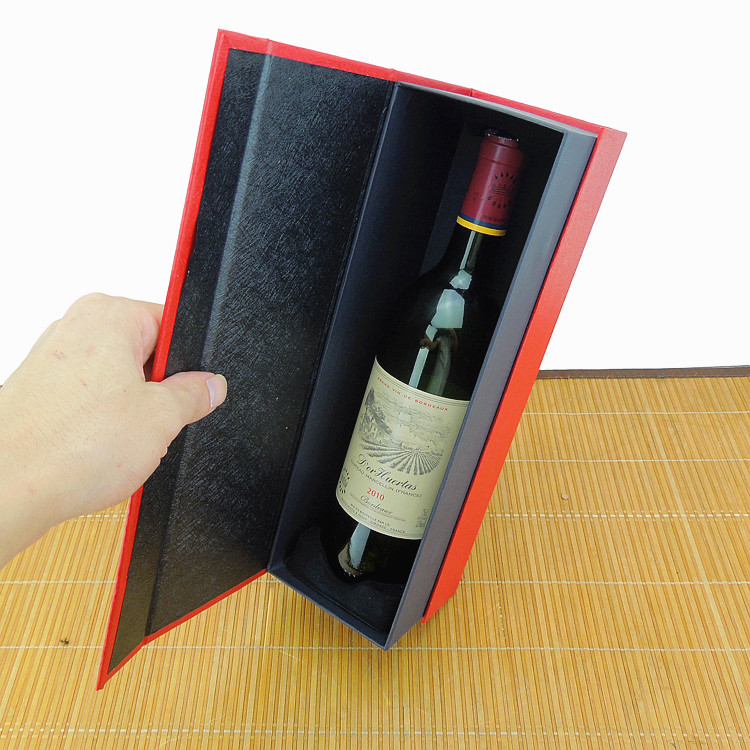 Luxury Handmade Custom Single Cardboard Magnet Red/Black Wine Packaging Box With Ribbon good box wine/wine crate