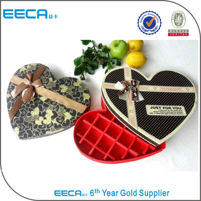 High quality heart shape box/Grid Chocolate Box/chocolate gifts box for hot sale in China