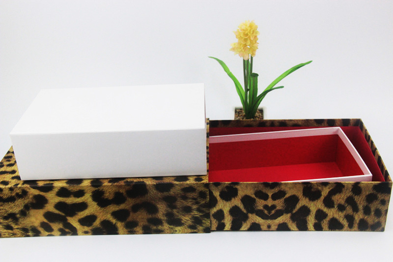 Hot sell luxury drawer gift box leopard print paper cardboard sliding drawer packaging box made in EECA China
