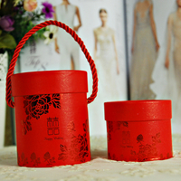 Chinese style mini wedding box/red printed round paper storage gift box with custom logo in EECA Packaging