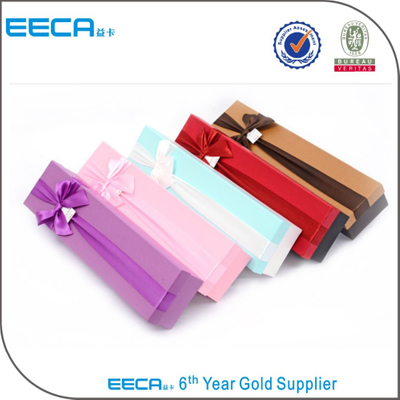 Rectangular gift box Luxury Fancy Jewelry Box Custom Printed Cardboard Box with butterfly ribbon