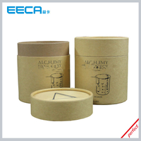 Luxury kraft cylinder gift box/round box beaker box candle packaging box cylindrical box wholesale in China
