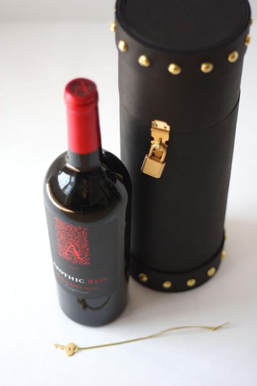 Luxury Handmade Custom Creative Upscale Cylinder Wine Box Black Wine