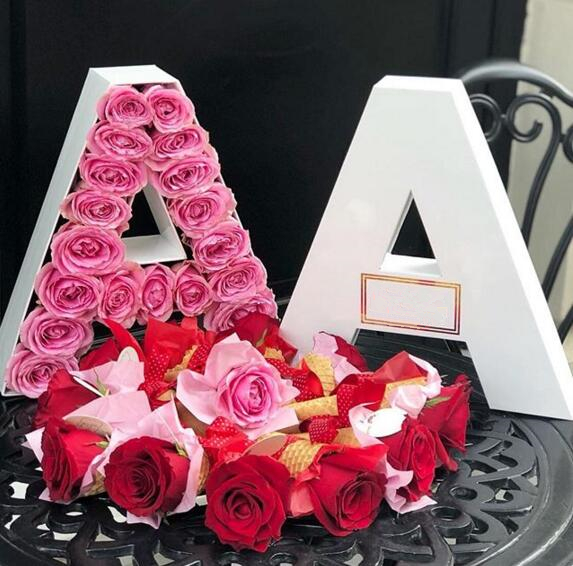 Custom unique letter A-Z shape packaging flower boxes luxury with custom logo,letters rose box