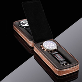 Custom 2 plaid brown leather watch box specially designed watch display clock case new gift box watch in EECA