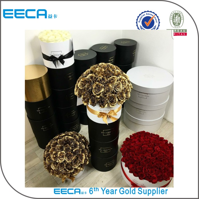 EECA 2017 Luxury paper flower gift box/round flower box/cylinder flower box in Packaging China