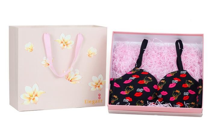 Bra Box/Rectangular Drawer Bra Packaging/pink color handmade drawer gift packaging cardboard box with handle