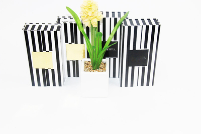 2017 Rectangular packaging box black and white striped foldable cardboard gift packaging box