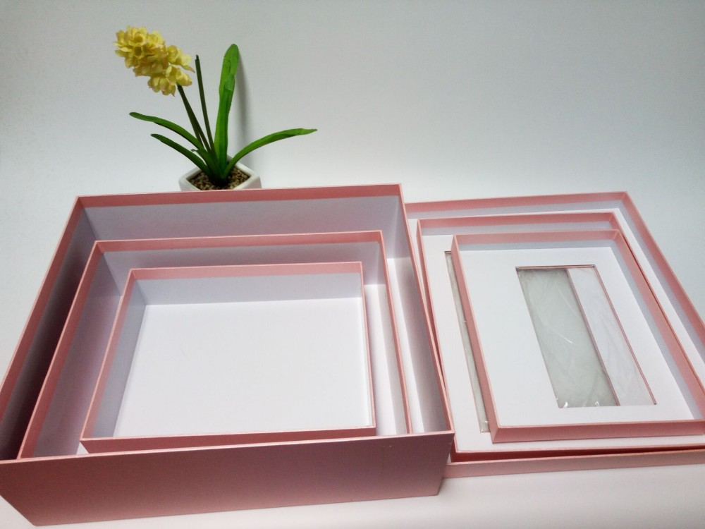 EECA rectangular gift box transparent Window Box Pink Color Customized paper packaging box with clear pvc window wholesale in China