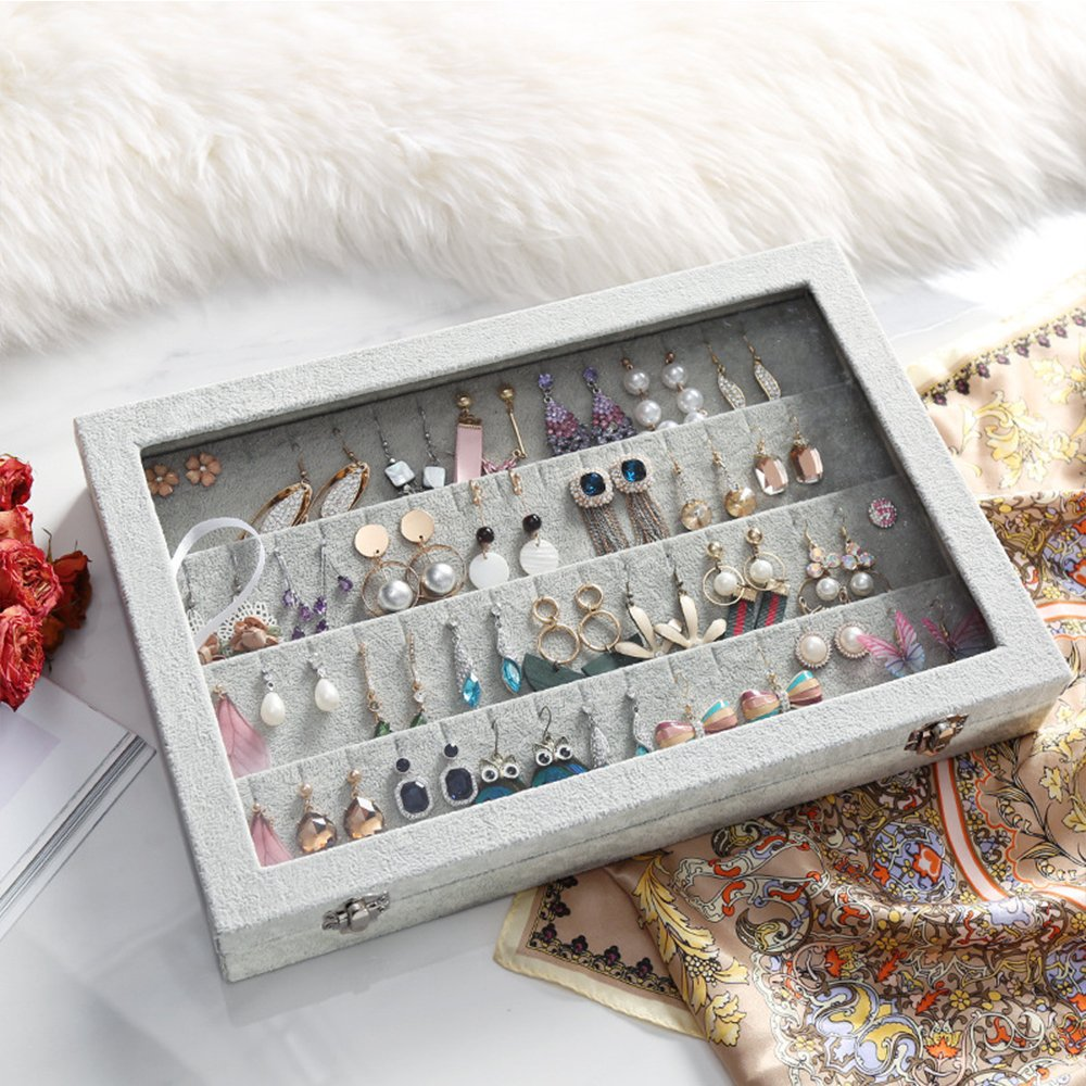 Custom Velvet Clear Lid Earring Organizer Storage Earrings Box Holder Case for Jewelry Display Showcase Stackable Lockable