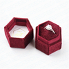 Luxury hexagon shape double slots velvet wedding ring display box
