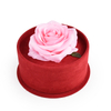 Suede Cylinder Flower Box with Gold Plated Metal Rose Decoration Handle Grip