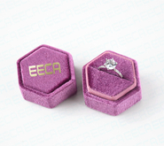Custom Logo Radiant Orchid Hexagon Velvet Ring Boxes/ Hexagonal Suede Ring Box